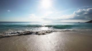 Seychelles beach with blue ocean view