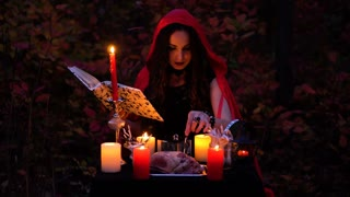 Attractive gorgeous brunette witch with book in red cloak conjures in the mystical autumn forest. witchcraft with a heart, chicken legs and porcupine needles