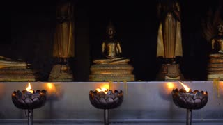 Lotus Bowl with Burning Oil Incense for Praying Buddha gods to show respect. Sacred Flame