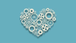 Heart with gears on blue