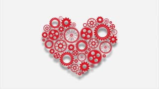 Heart with gears on white