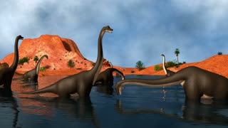 Group of Brachiosaurus dinosaurs grazing in a prehistoric lake.