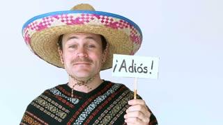 Adios Amigo Man Wearing Sombrero In Studio