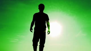 Alien Reincarnation Man And Green Sky Background