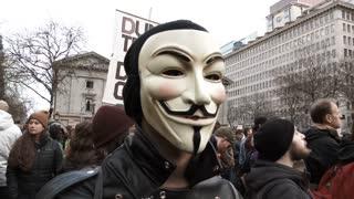 Anonymous Masked Man At Anti Trump Rally