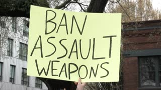 Ban Assault Weapons Sign At Rally