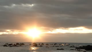 Beautiful Hawaiian Sun Over Ocean Horizon
