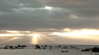 Beautiful Sunset Over Ocean Horizon Time Lapse