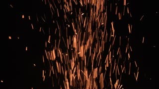 Burning Fire Embers On Black Background Maximum Sparks