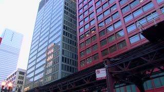 Chicago Illinois Elevated Train Stop And Go
