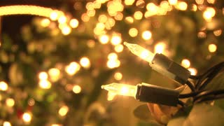 Close Up On Christmas Lights At Night