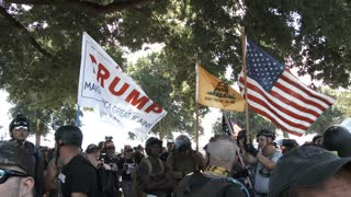 Crowd Of Trump Supports Waving Flags At Rally