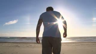 Happy Handstand Man At Beach
