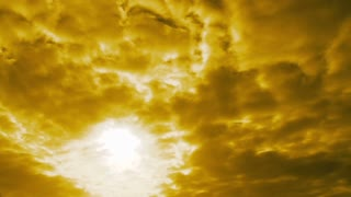 Happy Person Lifts Hands To The Surreal Yellow Sky