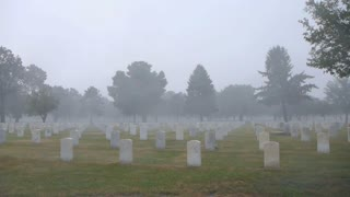 Heavy Rain Storm In Cemetery