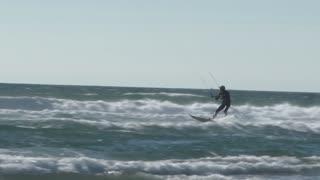 Huge Air Wind Surfer On Ocean Waves