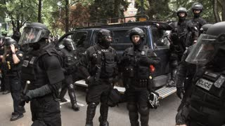 Large Police Force Heavily Armed On Street