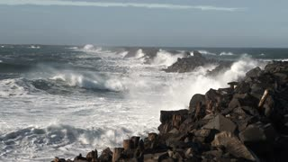 Large Storm Waves Crashing On South Jetty