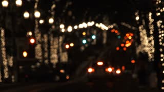 Lights Blurred On Downtown Streets At Night