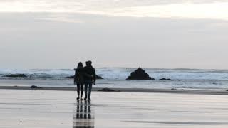 Loving Couple Beach Walk