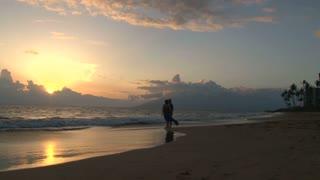 Loving Couple Walking Sunset Beach