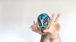 Man Dressed As A Mexican Wrestler In Studio