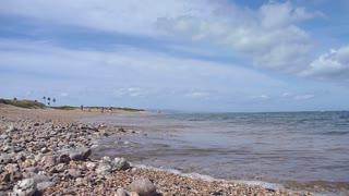 Man Walks Along Seashell Beach