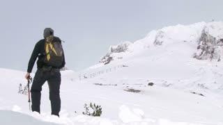 Mountaineering Snowy Mountain In Winter