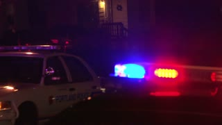 Night Time Crime Police Lights Flashing