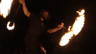 Nighttime Fire Dancers Performing