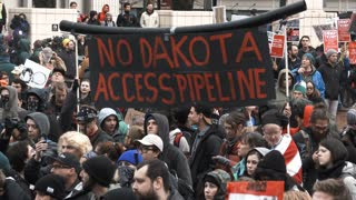 No Dakota Access Pipeline Banner At Protest