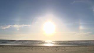 Ocean Man Walking On Windy Sands
