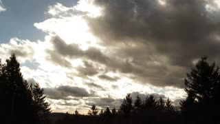 Passing Clouds To Clear Sky Time Lapse Above Tree Line