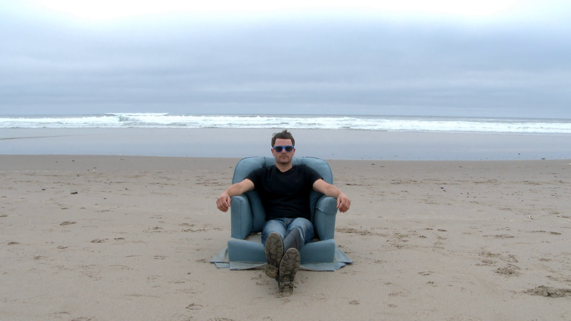 Person Finds A Cozy Sofa Chair On The Beach Stock Video Footage Storyblocks