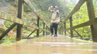 Person Hiking Over Forest Bridge In Rain