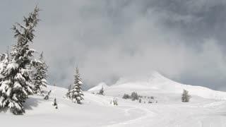 Person Skiing On Beautiful Mt Hood
