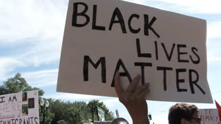 Person Waving Black Lives Matter Sign