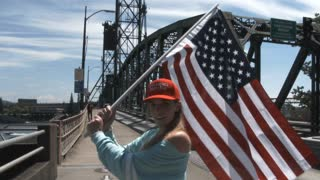 Proud Woman For Trump With American Flag