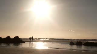 Sandbar Couple Enjoying Sunny Beach Day