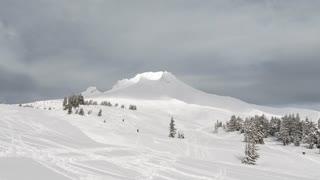 Skiers On Mount Hood Oregon