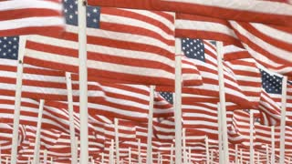 Slow Motion USA Flags Fill Frame
