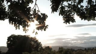 Sun Shines On Rural Land Panning Shot