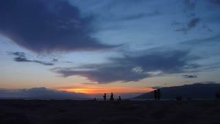 Sunset Beach Silhouettes 1 Women Walking