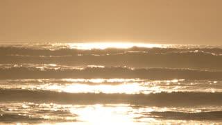 Sunset Light Reflecting On Crashing Waves