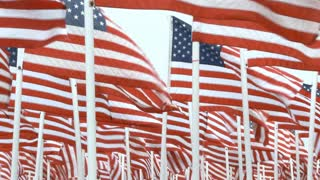 USA Flags Blowing In Wind Fill Frame