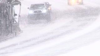 Zero Visibility Driving Through Snow