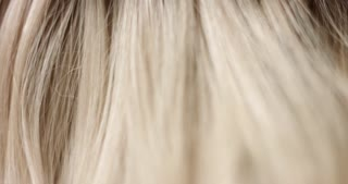 Close up video of combing long wavy woman's blond hair with a black hair comb
