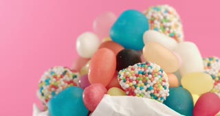 Closeup of colorful selection of hard candy rotating slowly