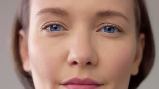 closeup of woman s face before kiss camera Kissing camera