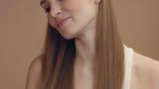 cute model feel pleasure and luxuriate. closeup model with natural makeup